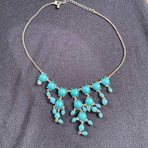 Vintage Bib Necklace Silver Tone w/Faux Turquoise